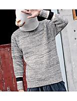 Для мужчин На каждый день Короткий Пуловер Однотонный Полоски,Круглый вырез Длинный рукав Хлопок Полиэстер Средняя Слабоэластичная