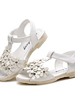 cheap -Girls' Shoes Leatherette Summer Comfort Sandals Rhinestone Flower Magic Tape for Casual Dress White