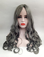 cheap -Capless Synthetic Wig Middle Part Long Grey Wavy Hair Costume Wig For Women