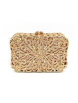 Women Bags Metal Evening Bag Crystal Detailing for Wedding Event/Party All Season Gold