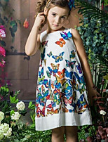 Girl's Birthday Holiday Butterfly Flower/Floral printing Dress,Cotton Polyester Sleeveless