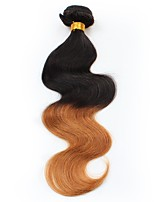 cheap -1 piece Black/Medium Auburn Body Wave Unprocessed Peruvian Human Hair Weaves Hair Extensions