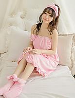 Robe de chambre Pyjamas Femme,Solide Coton Polyester Rose Claire Violet
