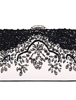 Women Bags All Season PU Evening Bag Flower(s) Pearl Detailing for Wedding Event/Party Black