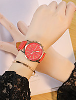 Men's Women's Casual Watch Chinese Quartz PU Band Casual Black White Red Brown