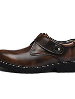 Men's Shoes Cowhide All Season Comfort Oxfords For Casual Dark Brown Gray Black