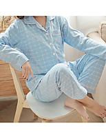 Costumes Pyjamas Femme,Couleur unie Coton Polyester Bleu clair