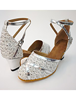 Women's Modern Paillette Honeycomb Leatherette Heel Party Splicing Chunky Heel Silver Gold