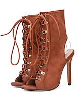 preiswerte -Damen Schuhe Wildleder Alle Jahreszeiten Komfort Neuheit Modische Stiefel Stiefel Peep Toe Niete Für Hochzeit Party & Festivität Schwarz