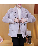 cheap -Women's Daily Simple Casual Winter Fall Leather Jacket,Solid V Neck Long Sleeve Short PU Fur Trim