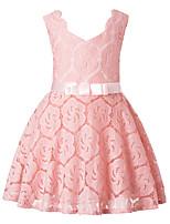 Girl's Birthday Christmas Floral Dress,Polyester Sleeveless