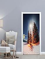 Botanique Noël Paysage Stickers muraux Caisson de Protection Autocollants avion Autocollants muraux 3D Autocollants muraux décoratifs