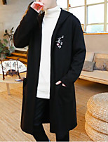 Men's Daily Casual Long Cardigan,Print Hooded Long Sleeves Cotton Spring/Fall Thick Micro-elastic