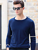 Standard Pullover Da uomo-Da tutti i giorni Taglie forti Semplice A strisce Rotonda Manica lunga Cotone Inverno Autunno Medio spessore