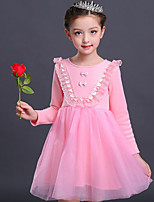 Robe Fille de Vacances Couleur Pleine Coton Rayonne Hiver Automne Manches Longues Actif Princesse Rose Claire Violet