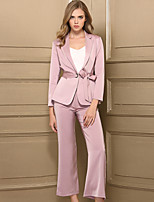 Women's Work Casual Set Pant Suits,Solid Long Sleeves Polyester