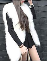 Недорогие -Для женщин На каждый день Осень Пальто с мехом Простой С принтом Обычная Длинный рукав,Хлопок