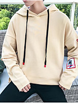 cheap -Men's Daily Going out Hoodie Solid Hooded Micro-elastic Polyester Long Sleeves Winter Fall/Autumn