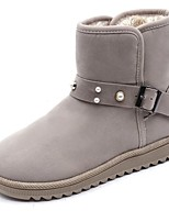 cheap -Women's Shoes Nubuck leather Winter Snow Boots Boots Round Toe For Outdoor Beige Black