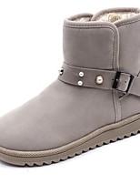 preiswerte -Damen Schuhe Nubukleder Winter Schneestiefel Stiefel Runde Zehe Für Schwarz Beige