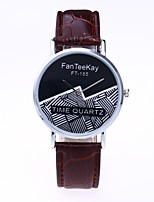 Men's Women's Casual Watch Chinese Quartz PU Band Casual Black White Brown