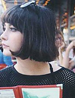 cheap -Women Human Hair Capless Wigs Medium Auburn Black Medium Length Kinky Straight