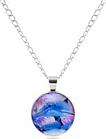 cheap -Men's Women's Circle Animals Cartoon Hiphop Lovely Colorful Pendant Necklace Glass Alloy Pendant Necklace , Prom