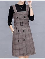 Women's Daily Casual Winter Fall T-Shirt Dress Suits,Plaid/Check Round Neck Long Sleeves Cotton Polyester