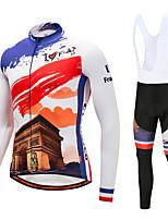 CYCOBYCO Maillot et Cuissard Long à Bretelles de Cyclisme Homme Manches Longues Vélo Collant à Bretelles/Corsaire Bretelles Pantalon /