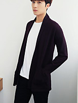 cheap -Men's Daily Going out Long Cardigan,Solid V Neck Long Sleeves Polyester Winter Fall/Autumn Thick Micro-elastic