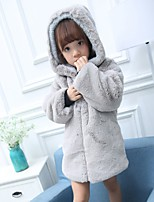 cheap -Girls' Solid Jacket & Coat,Polyester Long Sleeves Cute Casual Active Cartoon Blushing Pink Gray