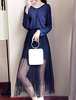 Chemisier Robes Costumes Femme,Couleur Pleine Vacances Sortie simple Actif Automne Manches Longues Col en V Polyester
