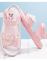 cheap -Girls' Shoes Cowhide Spring Summer Comfort Sandals Walking Shoes Booties/Ankle Boots Magic Tape For Casual Pink White