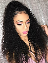 Women Human Hair Lace Wig Brazilian Human Hair Glueless Lace Front 150% Density With Baby Hair Kinky Curly Wig Black Short Medium Length