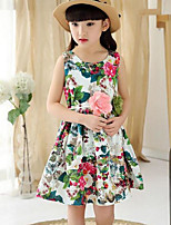 cheap -Girl's Birthday Holiday Floral Flower/Floral Character Dress,Linen Sleeveless Cute Casual Princess Green