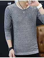 Men's Others Casual Regular Pullover,Solid Round Neck Long Sleeves Polyester Autumn Medium Micro-elastic