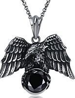 abordables -Homme Ailes / Plume Forme énorme Bijoux Fantaisie Gothique Pendentif de collier Strass Acier inoxydable Pendentif de collier Soirée