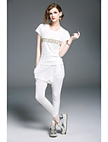 Women's Daily Casual T-shirt Pant Suits,Solid