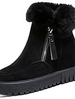 cheap -Women's Shoes PU Winter Fluff Lining Comfort Boots Round Toe Booties/Ankle Boots For Casual Outdoor Brown Black
