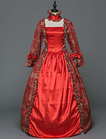 Victorian Rococo Female Adults' Party Costume Masquerade Red Cosplay Stretch Satin Satin Long Sleeves Floor Length