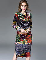 Women's Daily Going out Casual Street chic Sheath Dress,Floral Print Cowl Neck Midi Long Sleeve Polyester Winter Fall Mid Rise