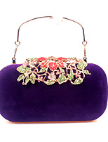 Women Bags Velvet Clutch Crystal Detailing for Wedding Event/Party All Season Red Purple Fuchsia Wine Royal Blue
