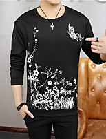 cheap -Men's Daily Hoodie & Sweatshirt Print Round Neck Micro-elastic Others Long Sleeves Fall