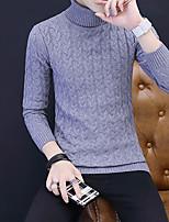 Corto Pullover Da uomo-Casual Tinta unita Dolcevita Manica lunga Acrilico Autunno Inverno Spesso Media elasticità