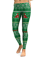 cheap -Women's Mid Rise Micro-elastic Slim Pants,Street chic Print Winter Fall