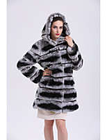 Women's Going out Simple Casual Winter Fur Coat,Striped V Neck Long Sleeves Regular Faux Fur