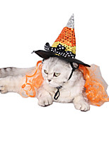 Cat Dog Hats, Caps & Bandanas Dog Clothes Halloween Sequins Orange Costume For Pets