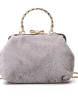 cheap -Women Bags Fur Tote Feathers / Fur Zipper for Shopping Outdoor All Season Black Blushing Pink Gray Brown