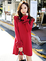 DABUWAWA Women's Going out Casual/Daily Simple Cute Loose Shift Sweater Dress,Solid Round Neck Above Knee Long Sleeve Rayon Polyester Nylon Spring