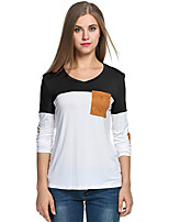cheap -Women's Daily Sophisticated Spring Fall T-shirt,Color Block V Neck Long Sleeve Modal Spandex Thin